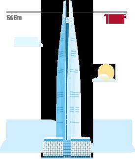 123층, 555m 높이의 롯데월드타워 예시